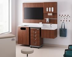 That is NEW COMPASS carts and additional components. Acute care spaces are being thoughtfully designed to be a place of healing by Herman Miller. Acute Care, Herman Miller, Compass, Health Care, Vanity, Healing, Spaces, Design, Dressing Tables