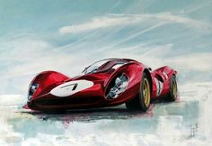 1967 Ferrari 330 p4 by Emmanuel Mergault. 1967 was a banner year for the Enzo Ferrari motor company, as it saw the production of the mid-engined 330 P4, a renowned V12 endurance car meant to replace the previous year's P3. Only four Ferrari P4-engined cars were ever made: three new 330 P4s and one ex P3 chassis. #ScuderiaFerrari #RedSeason