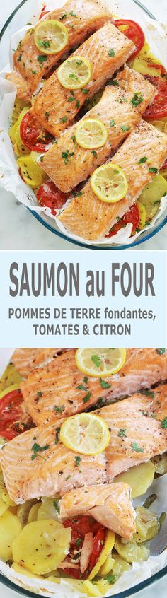 Salmon steaks on a bed of melting potatoes in the oven – plats – … - Lachs Rezepte Hamburger Meat Recipes, Sausage Recipes, Fish Recipes, Asian Recipes, Salmon Recipes, Easy Healthy Recipes, Easy Meals, Benefits Of Potatoes, Fish Varieties