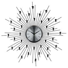 Silver Starburst Wall Clock (Retro Modern) 761 by LexMod Modern Clock, Mid-century Modern, Modern Wall, Kitchen Contemporary, Starburst Wall Decor, Clock Decor, Wall Clocks, Iron Wire, Mid Century Modern Decor