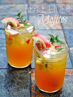 APPLE CIDER MOJITOS: These are the perfect drink to serve at you Harvest, Fall, or Halloween Party! Apples are everywhere this time of year, so why not use them in a cocktail? The secret ingredient to this deliciously different cocktail is the Cinnamon Simple Syrup don'€™t skip that step. Bottoms up! Jo-Lynne Shane