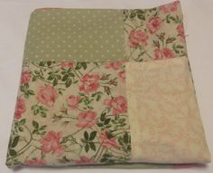 Shabby Chic Quilt Baby , Pink Green Baby Quilt , Pink and Green Baby Bedding, Shabby Chic Blanket.