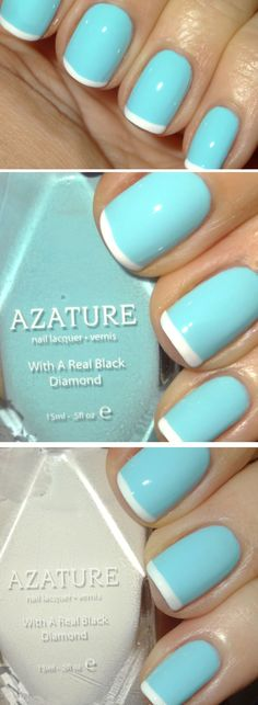 Blue French Manicure | Funky Nail Art Designs for Beginners