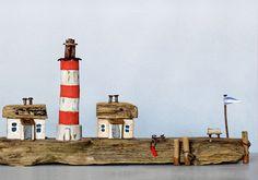 Treibholz Art Kunst Driftwood Westerhever Lighthouse Leuchtturm Ostsee St. Peter-Ording Holz, Haus Bank Anleger