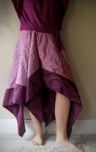 Easy, easy skirt. Cut a slit, finish the slit and slide it on. You can add elastic.