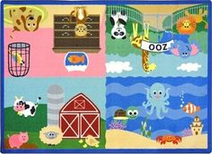 Children of all ages love animals, and the charming and colorful Animals All Around Childrens Rug highlights creatures from the farm, the home, the zoo and even the sea.  http://www.sensoryedge.com/animals-all-around-childrens-rug.html
