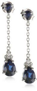 XPY Sterling Silver and Created Sapphire Drop Earrings