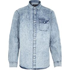 Blue acid wash denim shirt - denim shirts - shirts - men