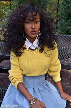 black girls in yellow Black Girl Fashion, Look Fashion, Autumn Fashion, 90s Fashion, Womens Fashion, Mode Outfits, Girl Outfits, Fashion Outfits, Classy Outfits