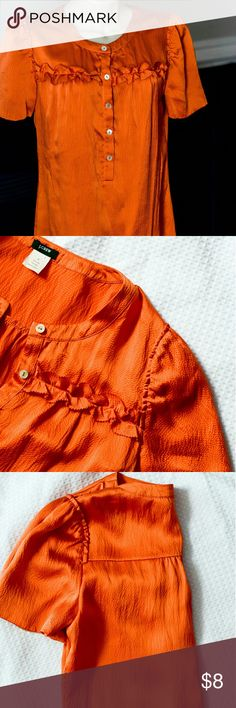 %100 Silk Orange J.Crew Blouse Get a pop of color in you everyday looks with this %100 silk orange J.Crew blouse. This is a great price for this pre-load blouse. J. Crew Tops Blouses