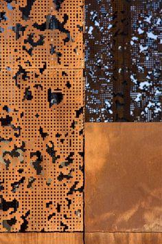 Caixaforum Madrid - Corten cut out panels - Herzog & De Meuron Detail Architecture, Installation Architecture, Contemporary Architecture, Interior Architecture, Interior Design, Madrid, Facade Design, Wall Design, Plasma Cnc