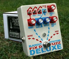 FIX'D FUZZ DELUXE, the hydra-headed dragon of handmade fuzzboxes, boosts & overdrives. Replete with two polar opposite fuzz tones, as well as a fullrange clean boost through heady overdrive and a (wide) tone sculpting stage. It delivers BIG diversity in sound - all in a small footprint package designed specifically for the cramped pedalboard.    The Fix'd Fuzz Deluxe picks up where the old stock Fix'd Fuzz left off and adds more tweakability, like the version used in the Twosome. Bass Pedals, Guitar Pedals, Music Machine, Bass Amps, Guitar Effects Pedals, Pedalboard, Fuzz, Audio Equipment, Packaging Design