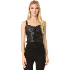 Rodarte Black Leather Ruched Sleeveless Top ($1,560) ❤ liked on Polyvore featuring tops