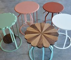 Like the idea of combining the metal frame with the wooden seat, coul be a good diy project