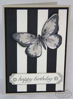 By Stephanie: Watercolour Wings, Birthday Blossoms, Timeless Elegance dsp, Bold Butterfly Thinlits, & more - all from Stampin' Up!