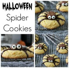 EASY SPIDER COOKIES:  Ok, these are crazy cute, and cookie recipes don't get much easier than this one.   GET THE RECIPE HERE:  http://princesspinkygirl.com/easy-halloween-spider-cookies/2/
