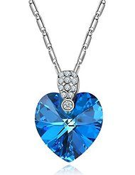 Forcolor Blue SWAROVSKI ELEMENTS Crystal Heart Shape Pendant-Necklace Women Jewelry White Gold Plated