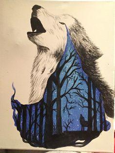 Welchen Hintergrund würdet ihr für dieses Bild zeichnen? #drawing #art #wolf #gutefrage #painting #zeichnung #malen