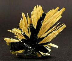 The crystals of Rutile have grown epitaxially on tabular Hematite / Brazil