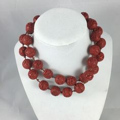 Old Chinese Cinnabar Lacquer Bead Carved Necklace Antique Vtg | eBay