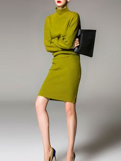 Green Plain Turtleneck Batwing Two Piece Casual Knitted Wool blend Two Piece Midi Dress