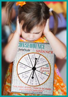 "Instead of searching your brain for an appropriate consequence to improper behavior within a nanosecond of reprimanding your child, have your little one ""spin for it""....our consequence spinner has blank spots for you to write in several possible consequences, but also includes one ""grace space"" to teach the art of offering (and receiving) grace.  This is great for a reward system, too!"