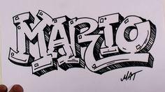 Graffiti Writing Mario Name Design in 50 Names Promotion Grafitti Letters, Graffiti Lettering Alphabet, Graffiti Words, Graffiti Writing, Best Graffiti, Graffiti Styles, Graffiti Art Drawings, Graffiti Doodles, Graffiti Wall