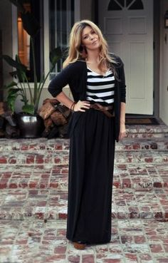 Black skirt, striped top, black cardigan