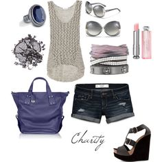 summer outfit..shorts..love the grey and blue together