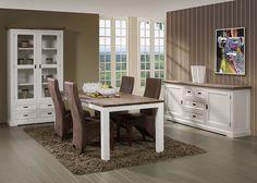 Salle à manger complète en bois massif couleur blanc et bois style contemporain HORUS