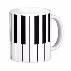 Music Themed Piano Keys Classic White Coffee Mugs Tea Mug Customize Gift By LVSURE Ceramic Cup Mug Travel Coffee Mugs