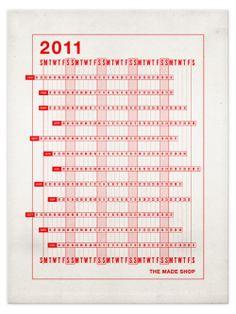 2011 Lettepress Linear Calendar