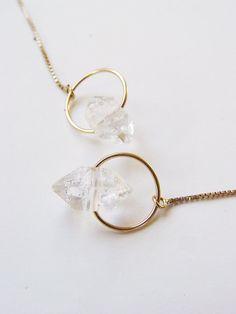Boucles d'oreilles du chaîne d'or diamant Herkimer vente