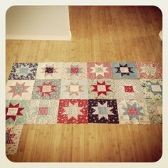 Modern Americana Quilt in progress--perfect for 4th of july time....