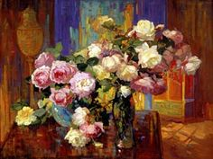 Irvine Museum | Franz A. Bischoff ~  Roses in a tall vase