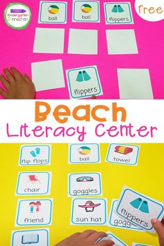 Grab these FREE Beach Vocabulary Memory Game Cards and strengthen vocabulary and memory skills with your kids all summer long! This printable vocabulary game is perfect for road trips to the beach or literacy centers in the classroom. Kindergarten Vocabulary, Kindergarten Centers, Vocabulary Games, Phonics Activities, Literacy Skills, Literacy Activities, Literacy Centers, Word Family Activities, Fun Summer Activities