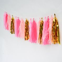 Sunny, bright, peppy and pink! A lively and beautiful decoration for a flamingo party, pool party or just because you love pink!  You will receive a tissue tassel garland kit with 20 tassels for assembling a 8 ft. long garland. Kit includes blush pink, bubblegum pink, fuchsia pink and metallic gold pre-cut tissue/mylar, cord to hang your tassels on and instructions to complete the very easy assembly of this cute, cute, cute banner.  In the last listing photo you can see our easy assembly...