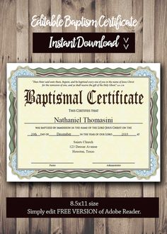 Baptism Certificate Word Editable Template  Selecting Certificate