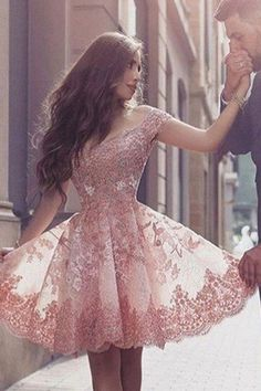 A-Line Off-the-Shoulder Short Sleeves Blush Pink Lace Prom Dress with Appliques