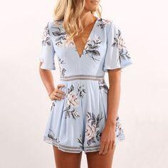 Fashion Flower Print Short Sleeve Deep V-Neck Romper Jumpsuit
