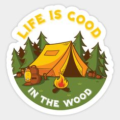 Camping Art, Natural Logo, Cool Stickers, Stickers, Vintage Drawing