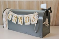 Wedding Card Holder Mail Box, Cream white, Charcoal Gray Rustic, Whimsy Birds #512