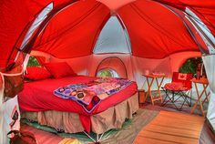 Glamping or Glamorous Camping. I would love to sleep in this red tent with luxu… Glamping or Glamorous Camping. I would love to sleep in this red tent with luxurious linens! Camping Nature, Camping Life, Family Camping, Camping Baby, Camping Survival, Camping Gear, Camping Hacks, Camping Stuff, Outdoor Survival