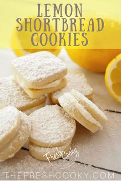 Incredibly light, buttery shortbread cookies bursting with lemon and filled with a dreamy lemon buttercream filling! Tea Cookies, Cake Mix Cookies, Sugar Cookies, Lemon Cookies, Cake Pops, Sandwhich Cookies, Lemon Buttercream Frosting, Cookie Recipes, Dessert Recipes