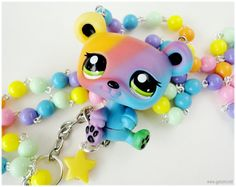 LPS Rainbow Teddy Bear Necklace,Littlest Pet Shop Figure, Long Beaded Pastel Chain in SIlver -  Fairy Kei via Etsy