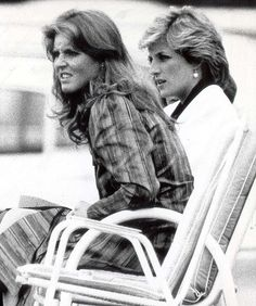 Sarah Ferguson watches polo at Windsor with Princess Diana, in 1985, the year before she married into the British Royal Family and became the Duchess of York