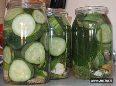Ogórki w miodzie - mmm... smacznie się zapowiadają, jeszcze tylko pasteryzacja i… Preserves, Pickles, Cucumber, Salads, Food And Drink, Drinks, Diet, Canning, Drinking