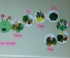 A toddler class created their own caterpillar. #toddlers #kindercare #kids #children #son #daughter #cute #art #bugs #insect #caterpillar #library #school #preschool #teach #teacher #teaching #lo #caterpillar #ericcarle