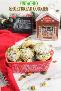 Melt in your mouth Pistachio Whipped Shortbread Cookies are crumbly, soft, buttery and filled with white chocolate chips then covered with pistachios. Best Christmas Cookies, Holiday Cookies, Christmas Desserts, Christmas Treats, Merry Christmas, Best Dinner Recipes, Special Recipes, Holiday Recipes, Christmas Recipes