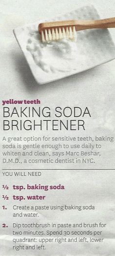 Homemade Teeth Whitener. Also recommended: use apple cider vinegar instead of water.
